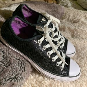 Black Sequined All Star Converse Sneakers